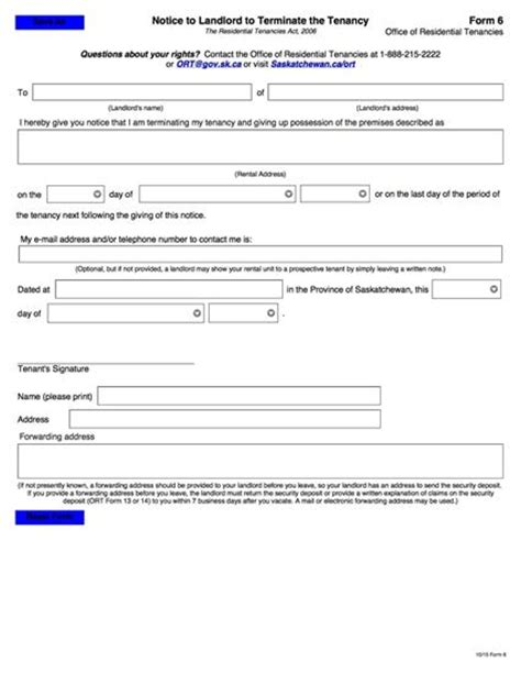 Landlord Lease Termination Letter Virginia Saskatchewan Notice To Landlord To Terminate Tenancy Forms And Business Templates