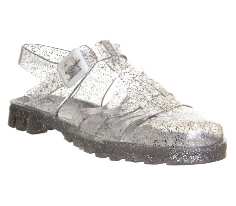 jelly sandals womens womens juju maxi low jelly shoes multi glitter sandals