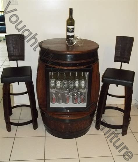 Wine Bar Table Wine Barrel Bar Table With A Built In Glass Door Bar Fridge 2 Stools With Back Supports Http