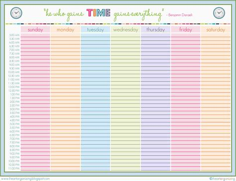 4 weekly schedule printable ganttchart template