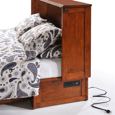 clover murphy cabinet bed clover murphy bed cabinet in cherry with usb bedside charger