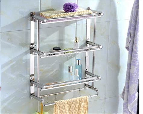 Wholesale And Retail Promotion Stainless Steel Wall Bathroom Wall Shelves With Towel Bar