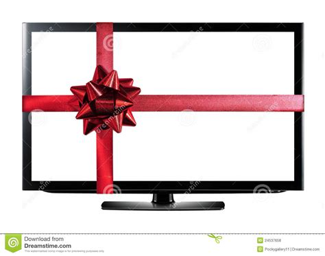 led or lcd tv with red christmas gift ribbon royalty free