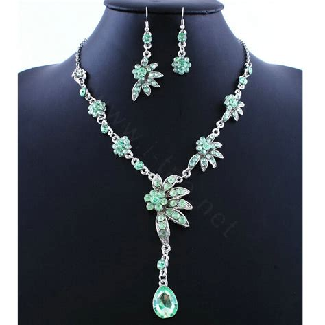 Waterdrop Flowers Pendant Necklace Pair Of Earrings buy wholesale high quality wedding bridal jewelry alloy water drops flower green rhinestone