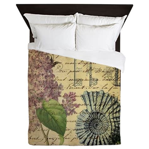 vintage purple lilac seashell botanica queen duvet by