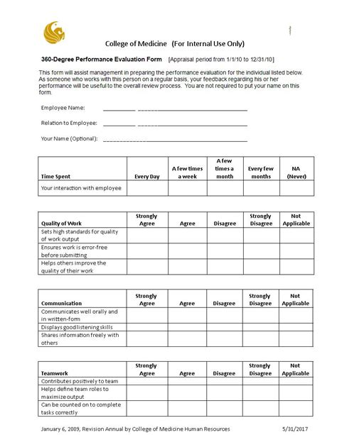 360 degree feedback form 6 360 degree feedback forms free sles advantages