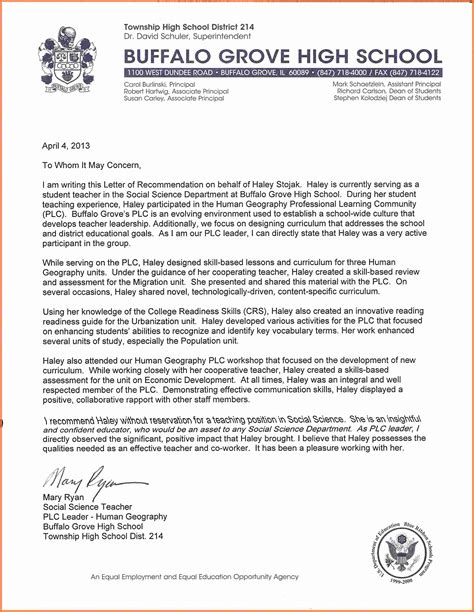 recommendation letter for high school student 10 letter of recommendation for high school student
