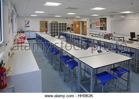 science lab benches science classroom in a new uk secondary school shows