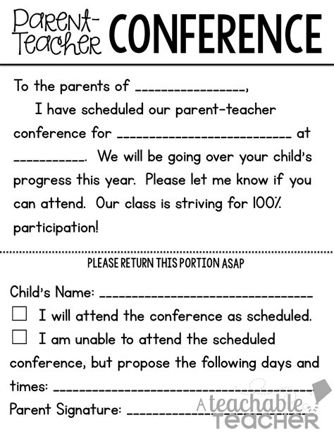 parent teacher conference letters a teachable teacher parent teacher conference tips and