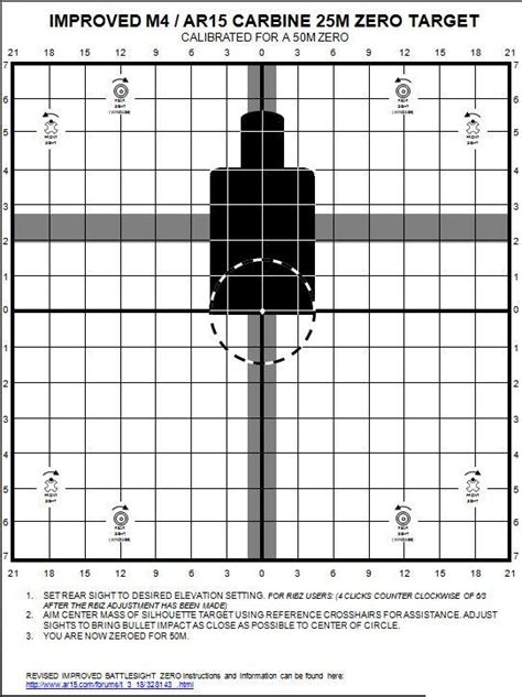 printable targets for iron sights improved 25m ar15a2 a3 a4 ar15 carbine zero targets