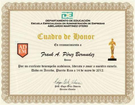 mensaje de cuadro de honor certificado certificado cuadro de honor