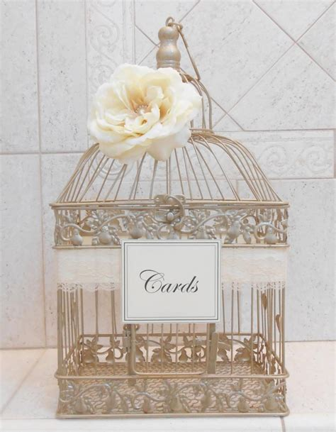 large chagne gold wedding birdcage card holder