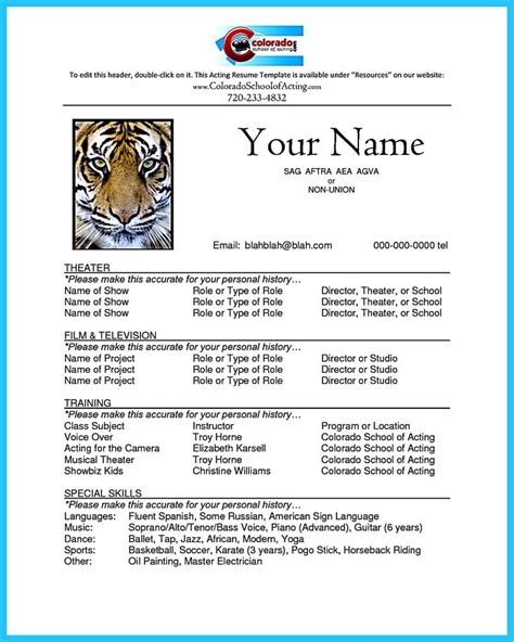 25 best ideas about acting resume template on