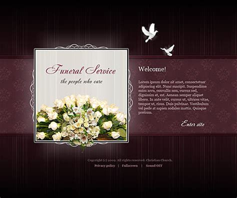 Funeral Service Flash Website Template Best Website Templates Memorial Service Slideshow Powerpoint Template