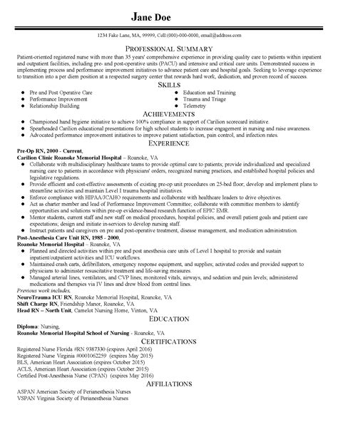 resume sles for nurses 28 professional summary for nursing resume