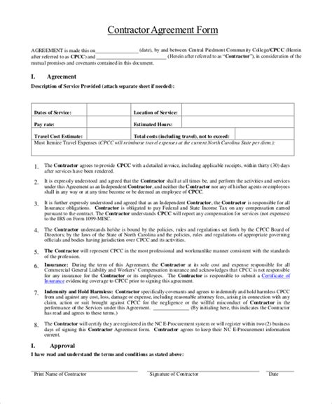 sle contractor agreement form 9 free documents in