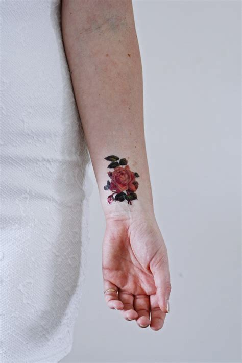 rose temporary tattoo small pink temporary temporary tattoos by