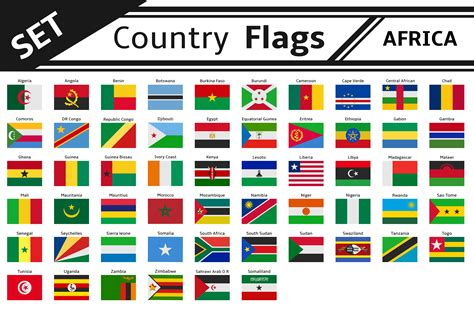 african countries flags set countries flags africa illustrations creative market