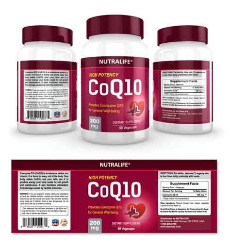 Coq10 Supplement Label Template Dlayouts Graphic Design Blog Vitamin Label Template