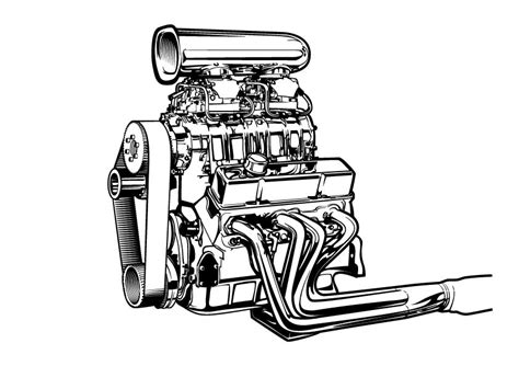 doodle engine line b w vector drawing of a supercharged chevy