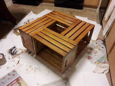 Wine Crate Coffee Table Diy How To Make A Coffee Table Out Of Wine Crates Easy Diy Project Removeandreplace