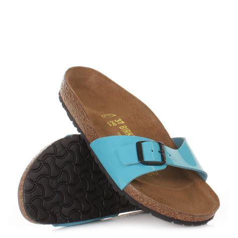 birkenstock sandals uk womens birkenstock blue patent madrid footbed sandals