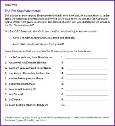 printable version ten commandments catholic unscramble the ten commandments kids korner biblewise