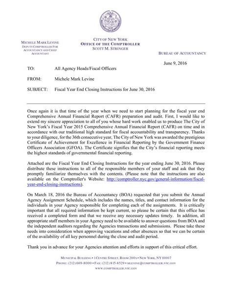 New Financial Year Letter Fiscal Year End Closing 2017 Office Of The New York City Comptroller M
