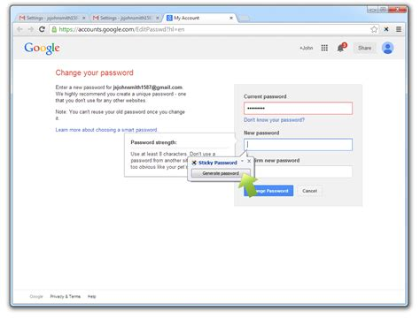 gmail password reset link generator changing your passwords gmail edition