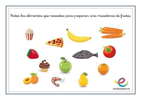 fichas alimentos infantil alimentaci 243 n ni 241 os fichas para conocer los alimentos en