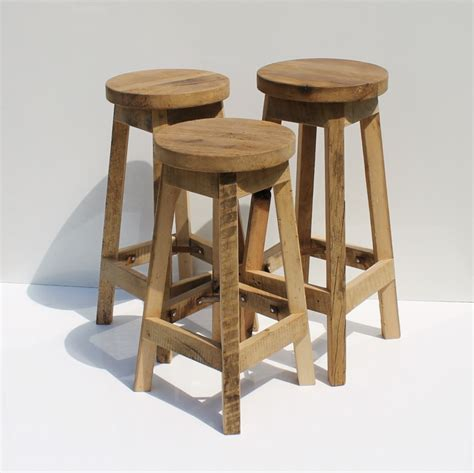 Repurposed Wood Bar Stools by Bar Stool Rustic Reclaimed Barn Wood W Top