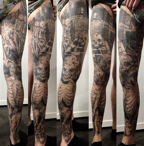 full leg tattoos designs 18 black and white leg sleeve tattoos