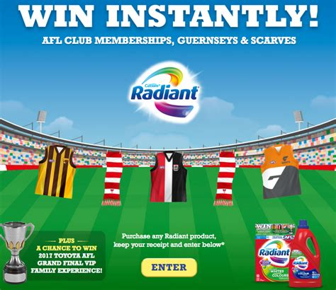 Instant Win Competitions Online - pz cussons australia radiant afl win a trip for 4 australian competitions