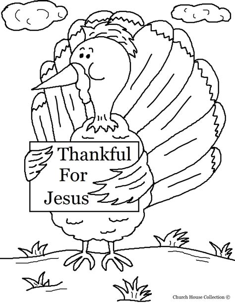 turkey holding sign quot thankful for jesus quot coloring page