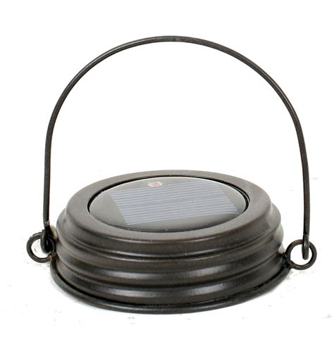 solar lid light hanging solar jar lid light rustic brown