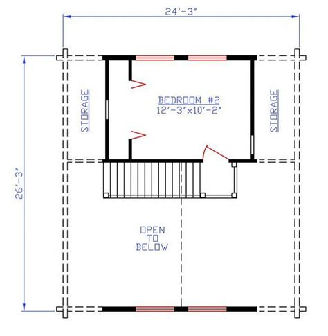 plan 154 00007 2 bedroom 1 bath log cabin plan