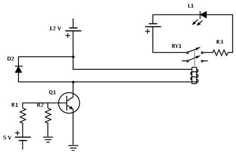 npn transistor for relay relay in a circuit being switched by an npn transistor do power supply and input need the