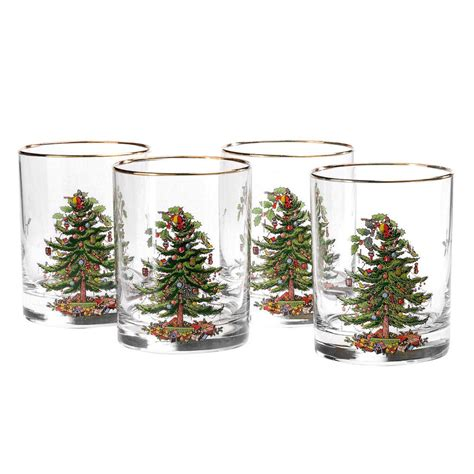 spode quot christmas tree quot double old fashioned glasses 14oz