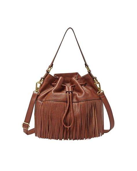 Fossil Jules Mini Fringe fossil jules mini fringe drawstring in brown save 28 lyst