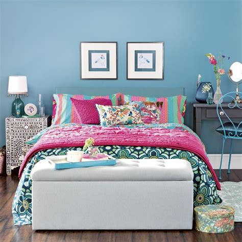 hot pink and blue bedroom blue bedroom with hot pink accents and blanket box