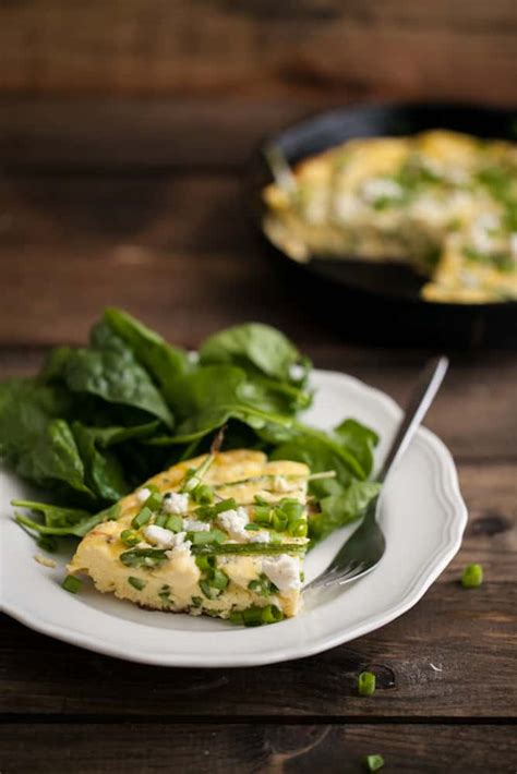 roasted asparagus green onion and blue cheese frittata