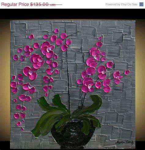 Vase On Sale Sale Original Pink Orchids Flowers In Vase Handpainted