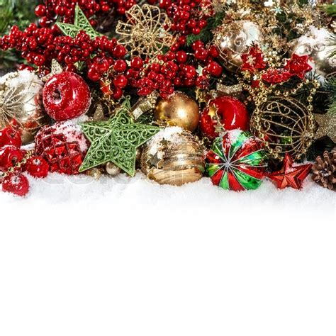 colorful christmas decorations in red gold green stock