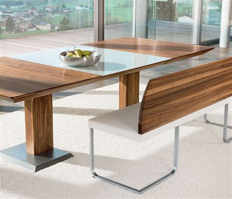 walnut dining table and bench luxury bench dining table team7 stretto wharfside dining furniture