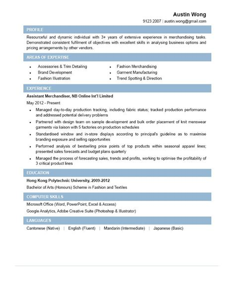 Resume Sample Hk by Assistant Merchandiser Cv Ctgoodjobs Powered By Career Times