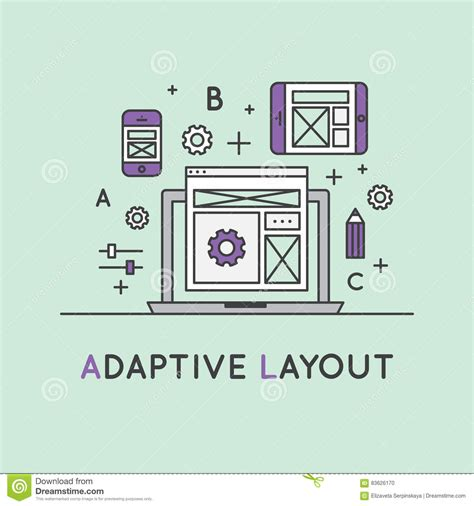 adaptive layout web design sniffing cartoons illustrations vector stock images