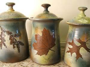 Green Kitchen Canisters Sets by Canister Set Lidded Jars Kitchen Canisters With Tree Leaves In