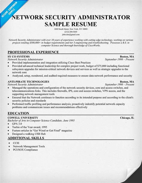 Resume Exles Network Administrator Resume Data Networks Expert