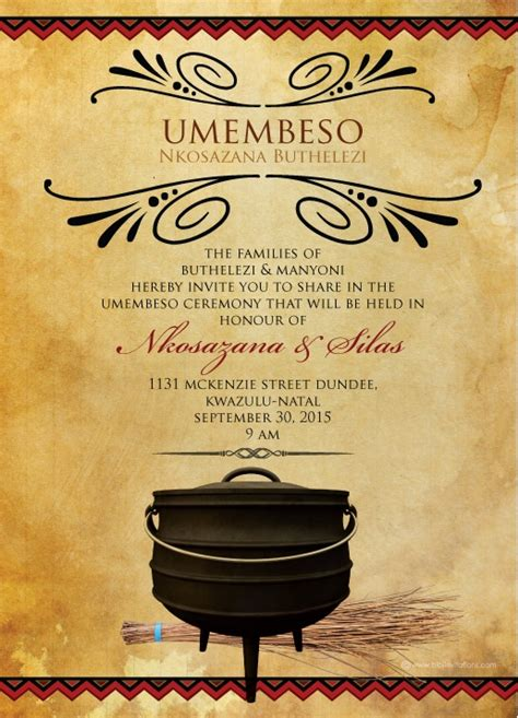 Invitation Letter In Zulu South Traditional Wedding Invitation Card Umembeso Card