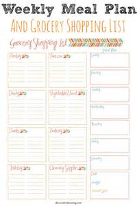 weekly meal planner and shopping list template weekly meal planner and grocery shopping list abc pics photos weekly menu planner template and grocery list